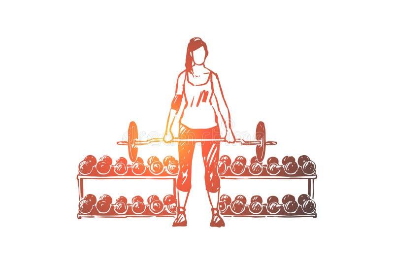 Jonge vrouw die in sportkleding met barbell uitwerken, powerlifter opleidend in gymnastiek, sportvrouwtraining stock illustratie
