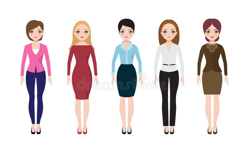 Jonge vrouw die in toevallige Europese kostuums dragen Volwassen bedrijfsvrouwen in blouse, rok en broek vectorreeks stock illustratie
