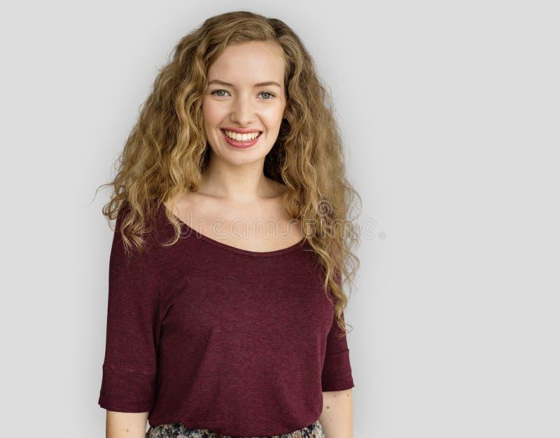 Jonge Vrouw die Vrolijk Concept glimlachen royalty-vrije stock foto