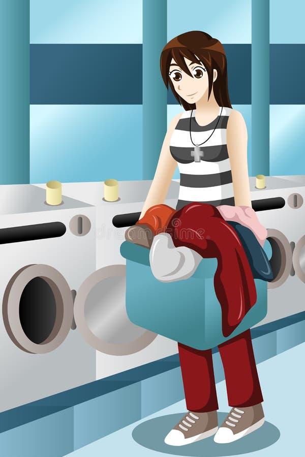 Jonge vrouw die wasserij doen stock illustratie