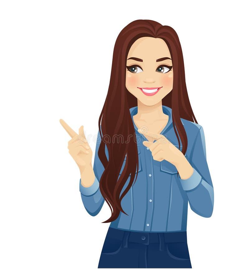 Jonge vrouw die weg richt vector illustratie