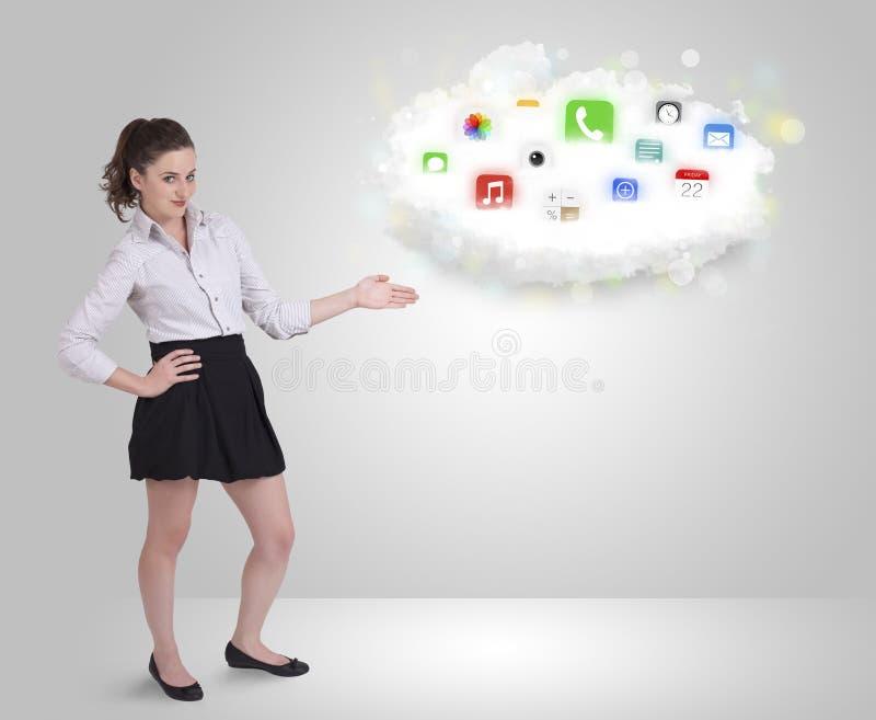 Download Jonge Vrouw Die Wolk Met Kleurrijke App Voorstellen Stock Foto - Afbeelding bestaande uit mobile, netwerk: 39102296