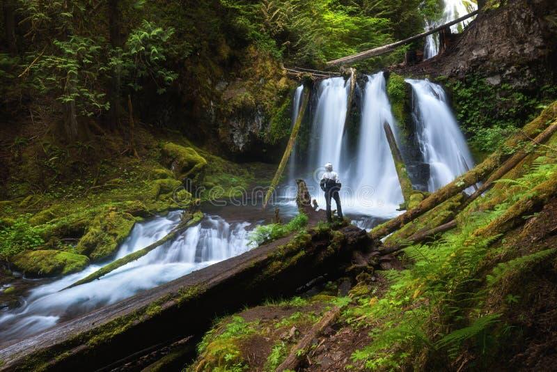 Jonge vrouw die zich door een waterval in Douglas County in U bevinden S Staat van Oregon [ De lange blootstellingsschoten twee g royalty-vrije stock afbeelding