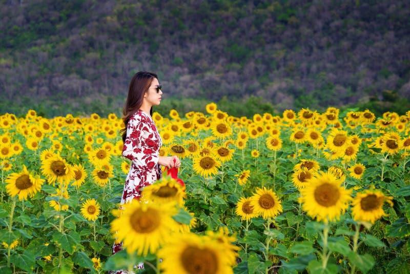 Jonge vrouw die zich op een gebied van zonnebloemen bevinden stock afbeelding