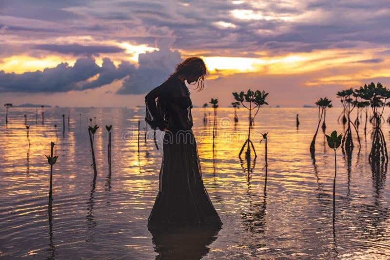 Jonge vrouw die zich in water bij zonsondergangsilhouet bevinden royalty-vrije stock afbeeldingen