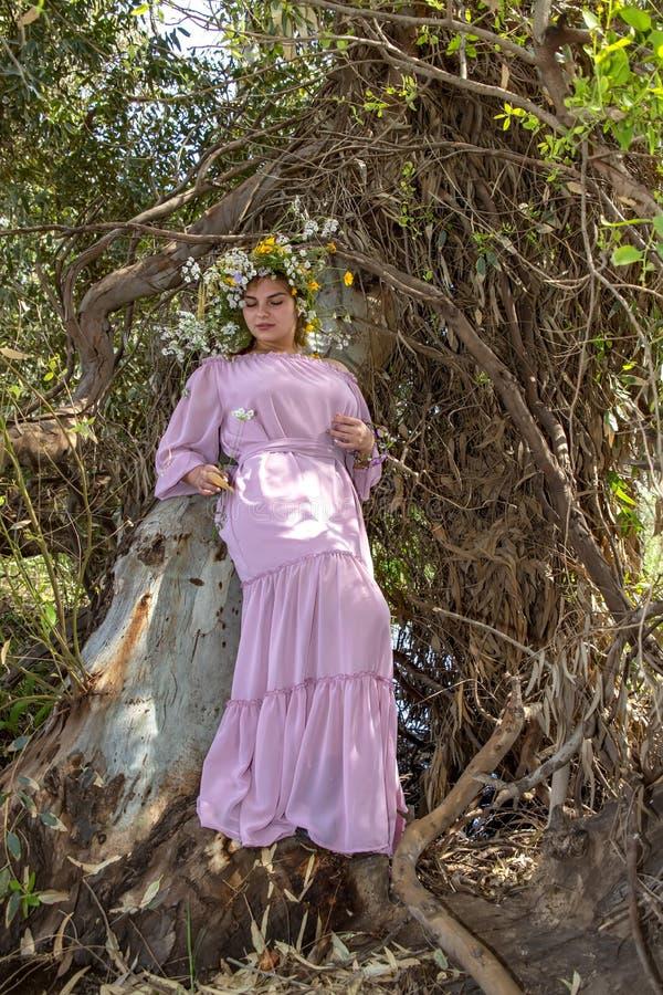 Jonge vrouw in een kroon van bloemen in een lange kleding die zich naast een boom in een bos bevinden royalty-vrije stock foto's