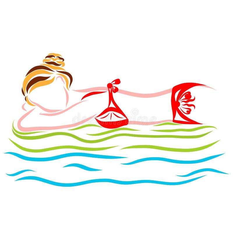 Jonge vrouw in een rode bikini die op de golven op een inflatab drijven stock illustratie