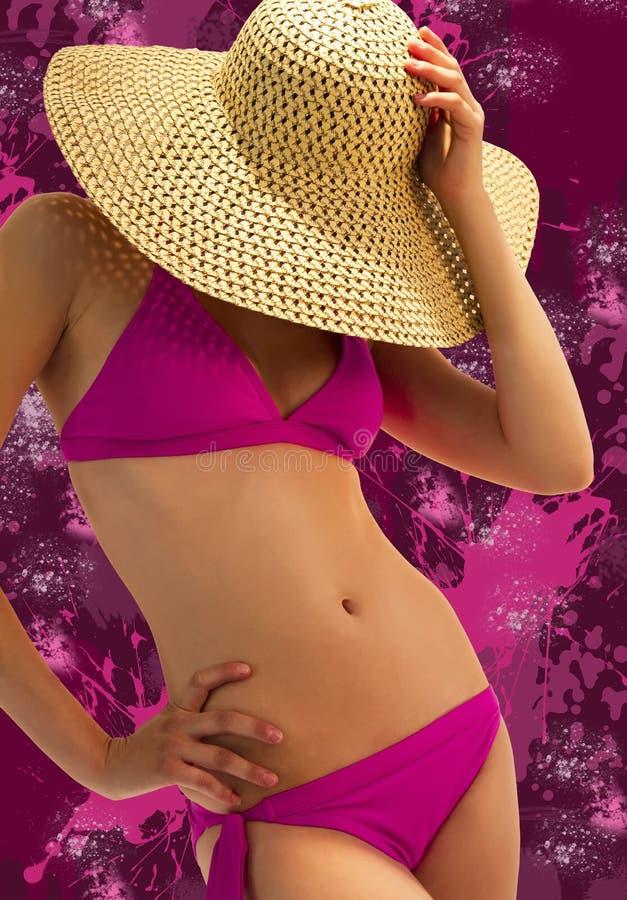 Jonge vrouw in een roze bikini royalty-vrije stock afbeelding