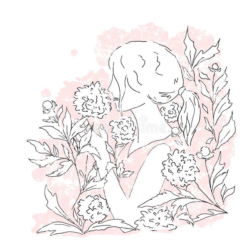 Jonge vrouw en bloemen, roze achtergrond vector illustratie