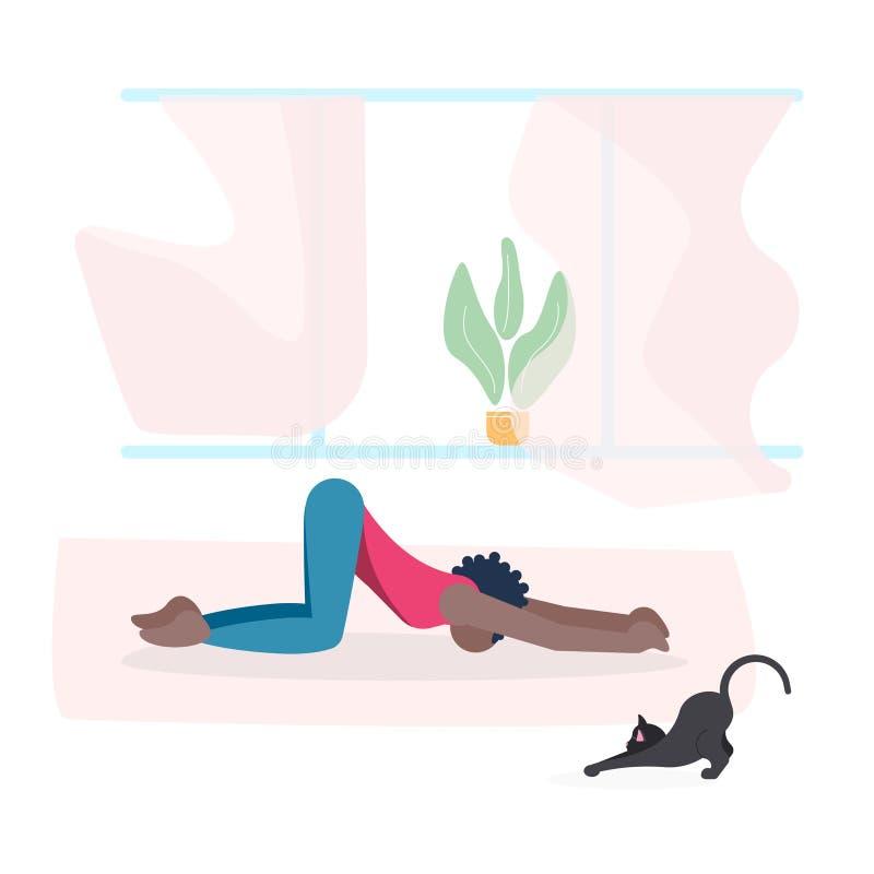 Jonge vrouw en haar cat do yoga samen stock illustratie