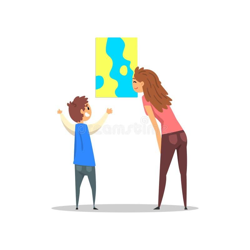 Jonge vrouw en jongen die het abstracte schilderen bekijken die op de muur, galerij hangen van moderne kunst met bezoekersvector vector illustratie