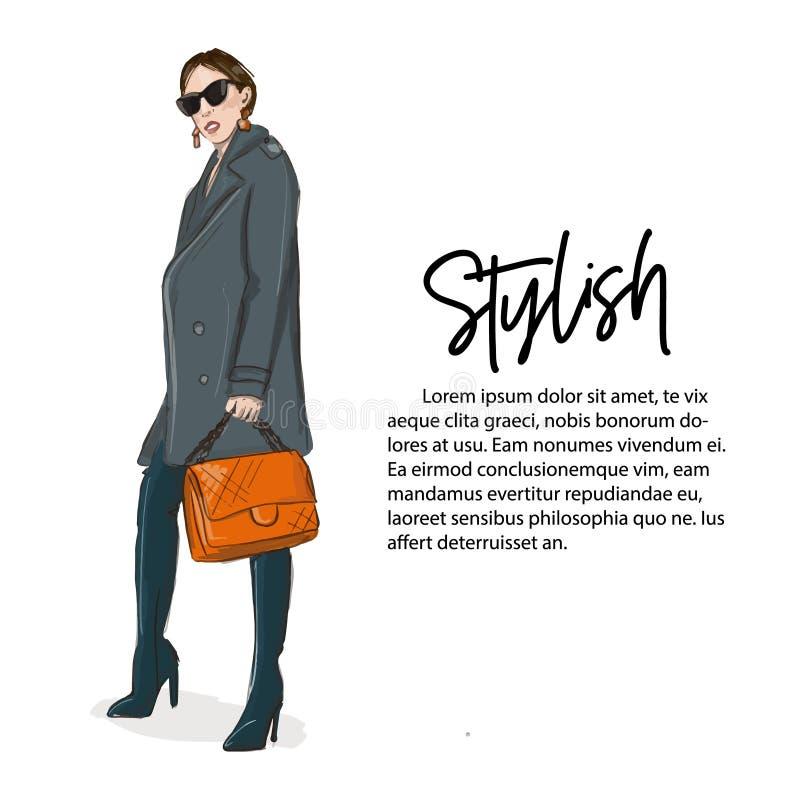 Jonge vrouw in grijze laag en over knielaarzen met oranje handtasillustratie Fashoin bedrijfsvooruitzichten Modieus meisje stock illustratie