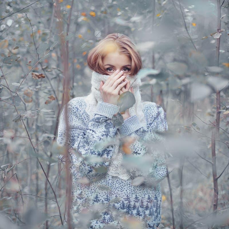 Jonge vrouw in het bos royalty-vrije stock fotografie