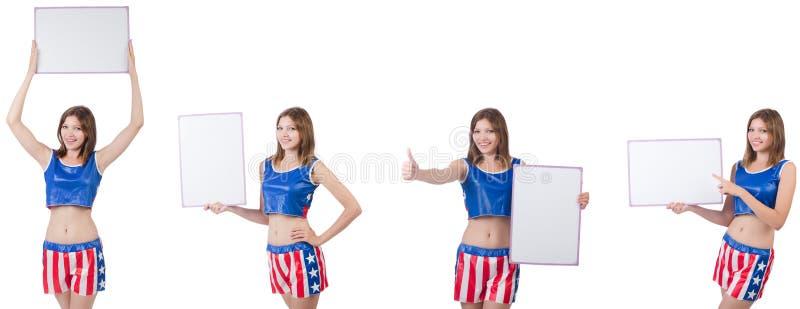 Jonge vrouw in het in dozen doen van broek die de raad houden royalty-vrije stock foto's