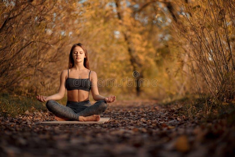 Jonge vrouw het praktizeren yogaoefening in de herfstpark met gele bladeren Sporten en recreatielevensstijl stock foto's