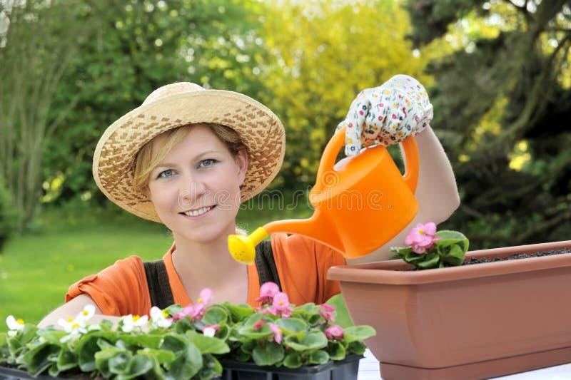 Jonge vrouw het water geven bloemen royalty-vrije stock fotografie