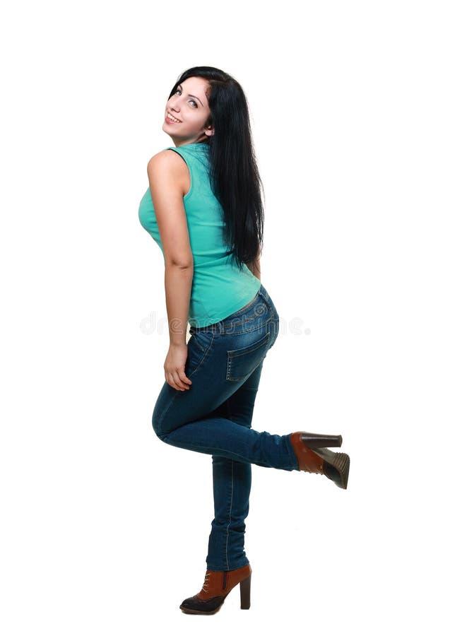 Jonge vrouw in jeans royalty-vrije stock afbeelding