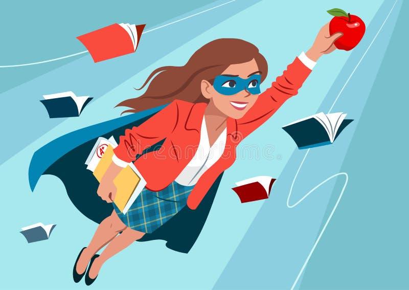 Jonge vrouw in kaap en masker die door lucht in superhero pos vliegen stock illustratie
