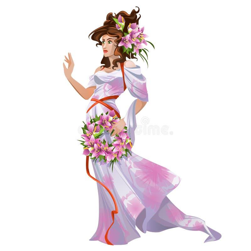 Jonge vrouw in kleding in oosterse stijl en een kroon van verse die bloemenlelies op witte achtergrond worden geïsoleerd Vector b stock illustratie