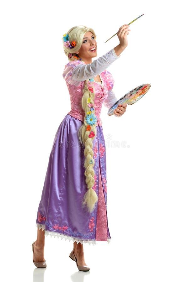 Jonge Vrouw in Kostuum het Schilderen stock afbeeldingen