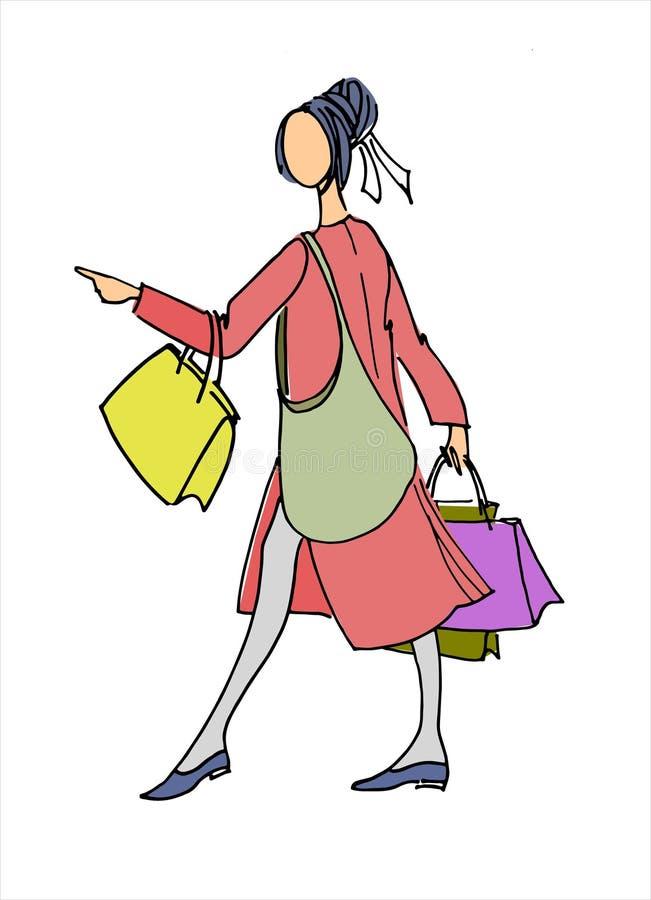 Jonge vrouw in laag met het winkelen zakken Hand getrokken vectorillustratie Concept het winkelen, kleinhandels, verkoop stock illustratie