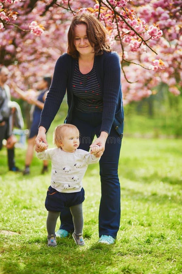 Jonge vrouw met babymeisje die van het seizoen van de kersenbloesem genieten stock fotografie