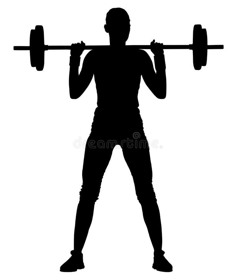 Jonge vrouw met barbellverbuiging spieren en het maken van schouder hurkzit in gymnastiek, silhouet drukken royalty-vrije illustratie