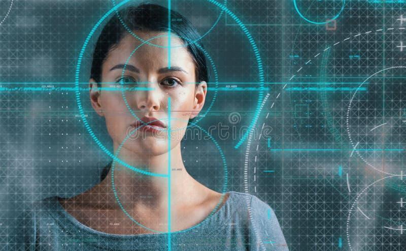 Jonge vrouw met biometrisch thema royalty-vrije stock foto