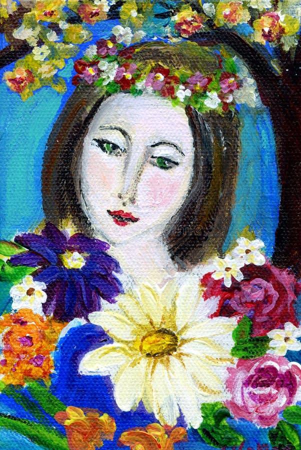 Jonge vrouw met bloemen stock illustratie