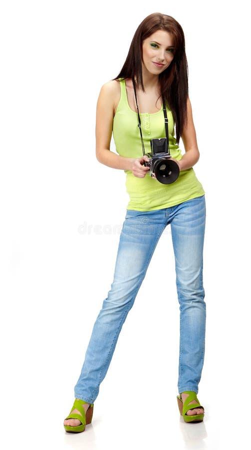 jonge vrouw met camera. royalty-vrije stock afbeeldingen