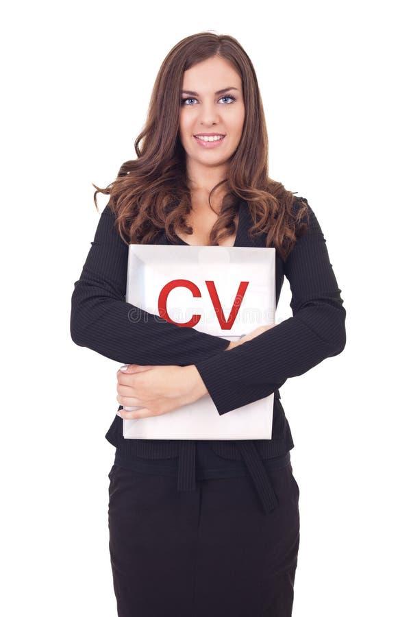 Jonge vrouw met cv stock foto