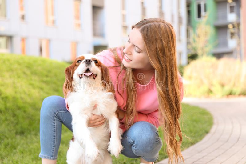 Jonge vrouw met de aanbiddelijke Arrogante hond van Koningscharles spaniel stock fotografie