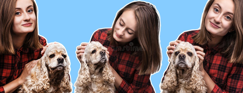 Jonge vrouw met een hond stock afbeelding