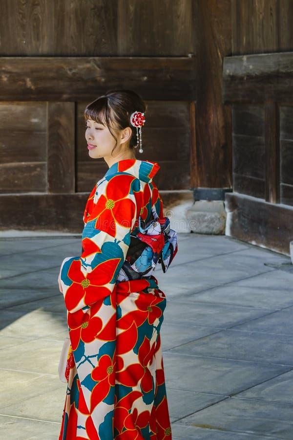 Jonge Vrouw met Geisha Costume, Kyoto, Japan royalty-vrije stock foto