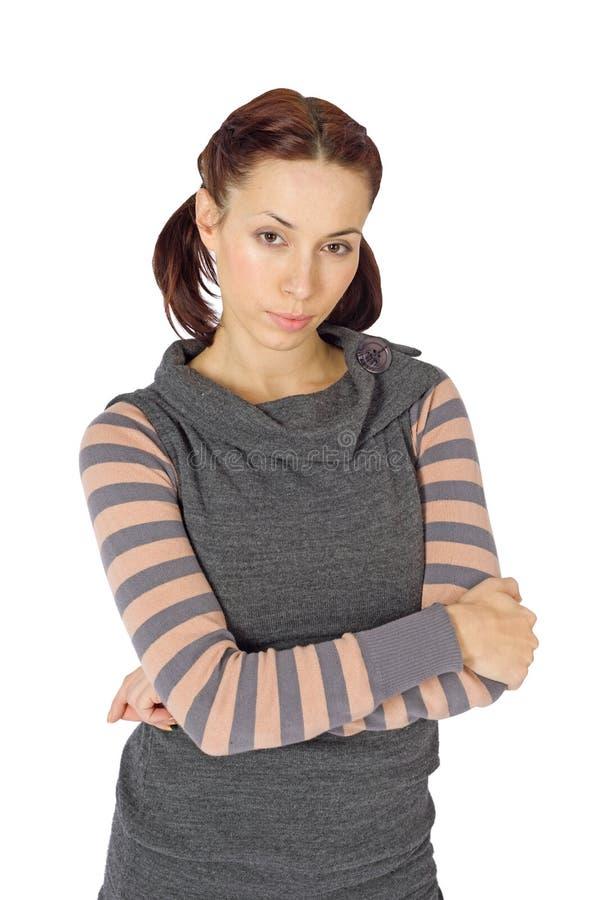 Jonge Vrouw met Gekruiste Wapens stock foto's
