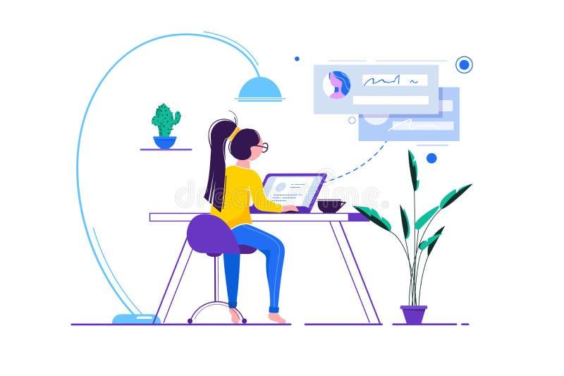 Jonge vrouw met glazen bij computer op Internet, op het werk stock illustratie