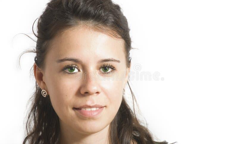 Jonge vrouw met groene ogen royalty-vrije stock afbeelding