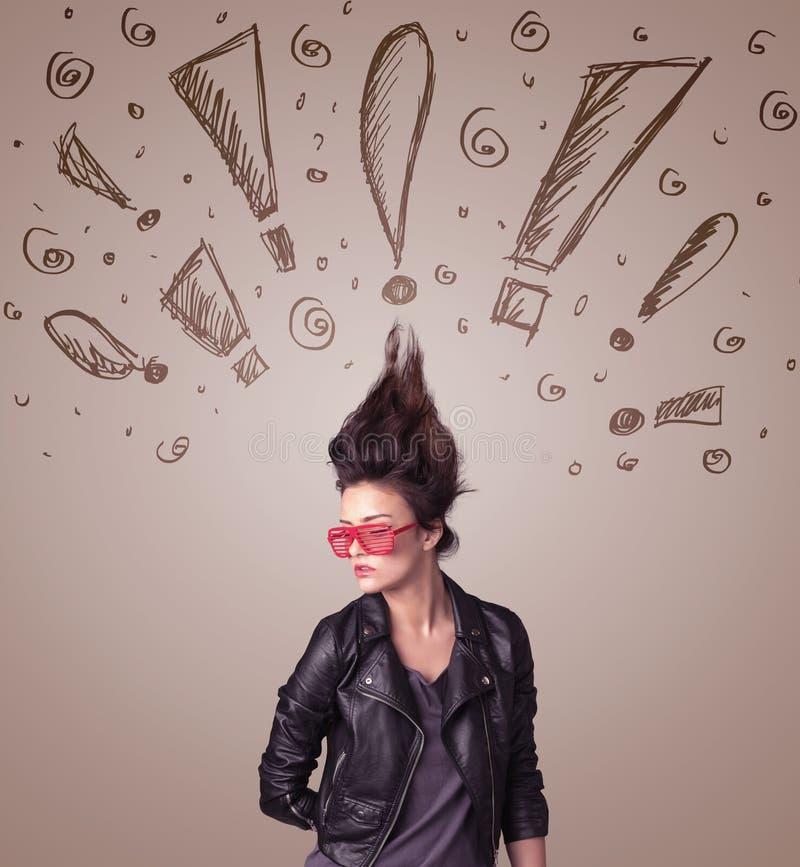 Download Jonge Vrouw Met Haarstijl En Hand Getrokken Uitroeptekens Stock Afbeelding - Afbeelding bestaande uit aantrekkingskracht, schoonheid: 54089497