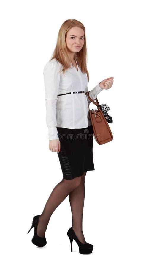 Jonge vrouw met handtas stock afbeeldingen
