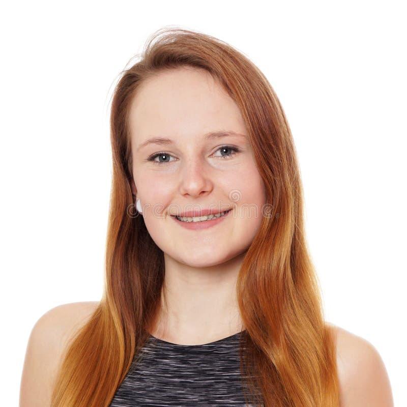 Jonge vrouw met het haar van het aardbeiblonde stock foto's