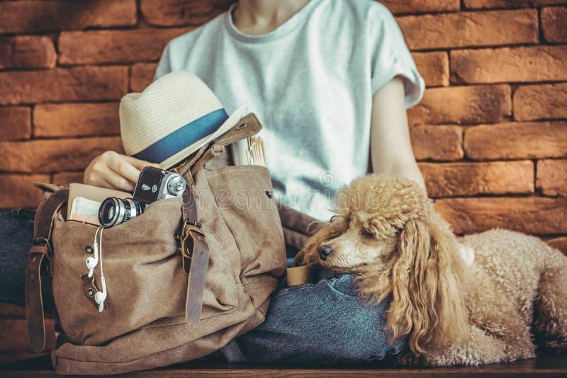 Jonge vrouw met hond en rugzak stock foto