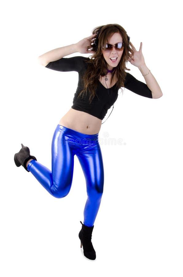 Jonge vrouw met hoofdtelefoon (4) stock foto's