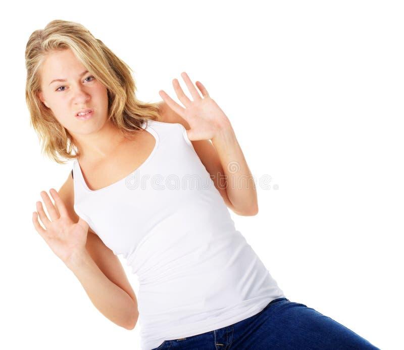 Download Jonge Vrouw met Houding stock foto. Afbeelding bestaande uit overhemd - 10783502