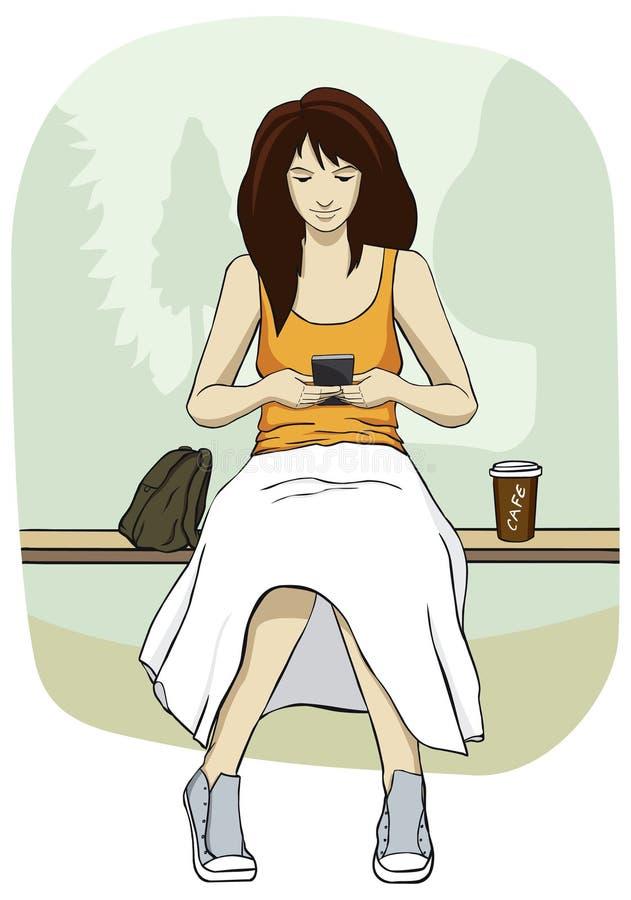 Jonge vrouw met mobiele telefoon stock illustratie