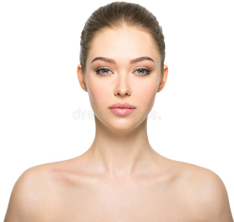 Jonge vrouw met mooi gezicht stock foto's