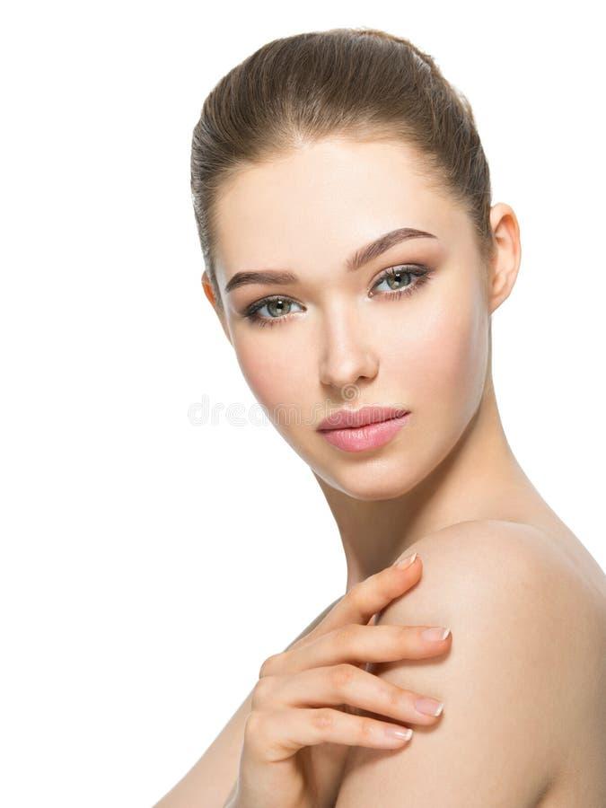 Jonge vrouw met mooi gezicht royalty-vrije stock afbeeldingen