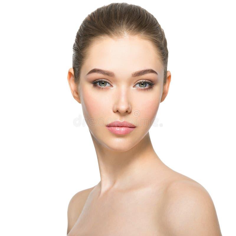 Jonge vrouw met mooi gezicht royalty-vrije stock afbeelding