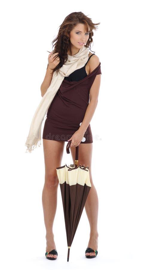 Download Jonge vrouw met paraplu. stock foto. Afbeelding bestaande uit vrolijk - 10778440