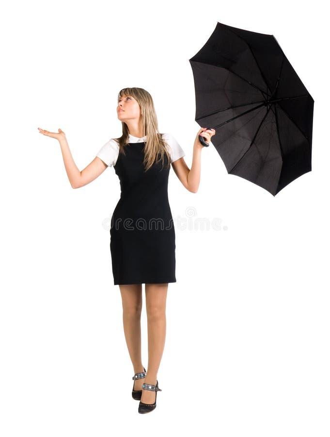 Jonge vrouw met paraplu royalty-vrije stock afbeelding