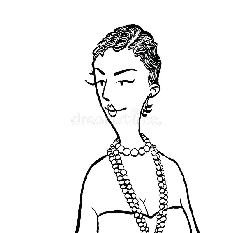 Jonge vrouw met parels vector illustratie